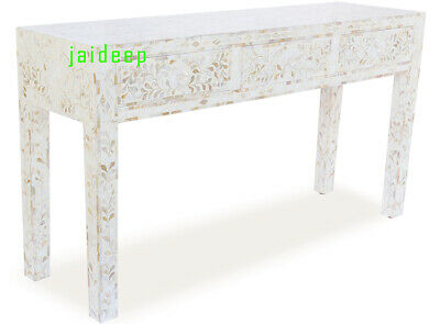 Handmade Handicraft Natural Mother of Pearl Inlay Console table 3 Drawer