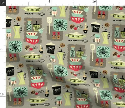 Vintage Kitchen Mod Mid Century Retro Plates Fabric Printed by Spoonflower BTY