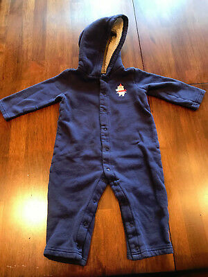 dfb3c26d0 CARTER'S BABY BOY Blue White Plaid Hooded Fleece Jumpsuit Size 6 ...
