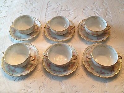 6 Limoges Elite Boullion Cups and Saucers BWD4 Pattern