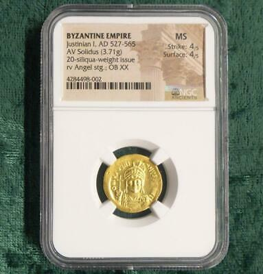 AD 527 NGC MS Byzantine Justinian I GOLD AV Solidus, Mint State Angel Cross Rev.