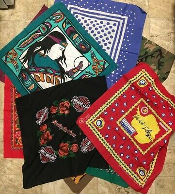 Lot 10 Vtg Pattern Workwear Bandanas USA Handkerchief Floral Harley Native West