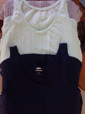 6f0e888c88fe4 Womens Size Large Lot Of 2 Tank Tops Old Navy Aqua Navy EUC Spring Summer  Beach