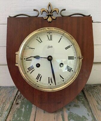 Vintage Schatz Royal Mariner 8 Day Ship Bell Brass Wall Clock Wood Wheel Germany