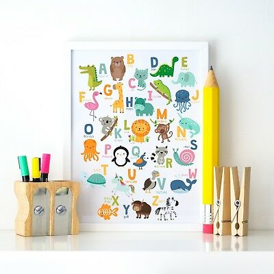 ABC Animal Alphabet Learning Fun Nursery Kids Decor Wall Art Print Colour Poster