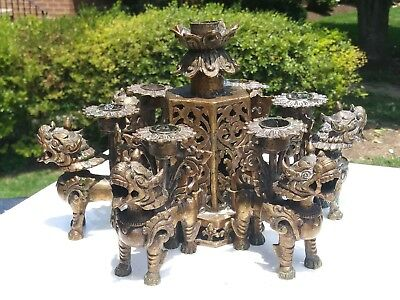 Vintage Tibetan Nepalese bronze / brass 6  foo dog lion candle holder candelabra