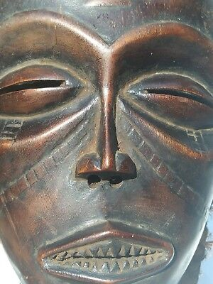 Vintage African Tribal art Chokwe Tribe Hand Carved  Wood Face Mask from Angola