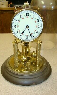 Vintage Anniversary Clock Glass Dome German Brass Movement