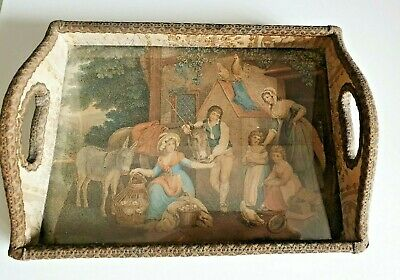 Vintage Antique Dinner Tray with Handles and Print Under Glass/HUMANS SCENE