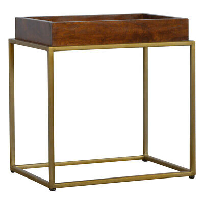 Art Deco Mid Century Gold & Dark Wood Butler Tray Occasional Table