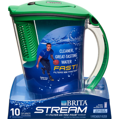 Brita 10-Cup Stream Filter As You Pour Water Pitcher, 1 Filter BPA Free, Green
