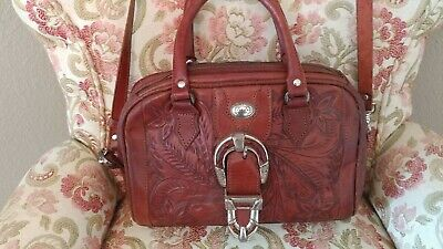 Vintage Hand Tooled Leather American West Satchel Dr.'s Bag Removable Strap GVC