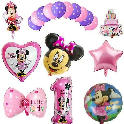 Minnie Mouse Happy 1st Birthday Balloons Foil Helium Latex Party Decorations