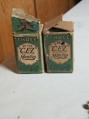 Antique Pat Welsbach Co Gas Light/Lamp Mantles C. E-Z LOT OF 6 IN BOX