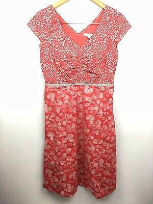 3a4cb092f851 Boden Womens Hotchpotch Dress Lined V Neck White Red Dots Floral Pinup 4