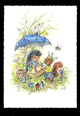 Fantasy postcard Artist Signed Lore Elf Gnome Bugs, Modern Drink Stand