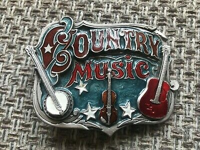 Vintage Collectible Country Western Music Enamel Belt Buckle USA 1982 (SN: 919)