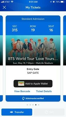 2 BTS Metlife Stadium Tickets May 19, 2019 Section 315