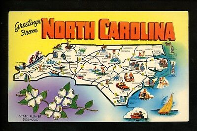 etc - State Map Postcard Cape Hatteras Raleigh Greetings from North Carolina