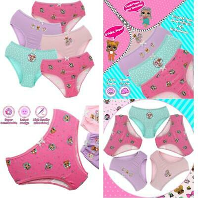 Lol Surprise Underwear For Girls 5 Pairs 100% Cotton Briefs Pants Knickers Age 4