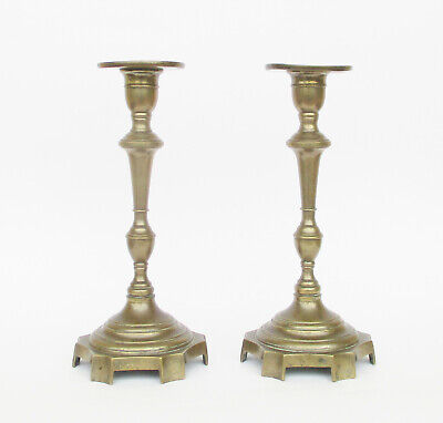Antique 19Th Century Brass Pair Of Candle Holders