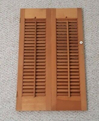 "32"" X 20"" VTG Colonial Wood Interior Louver Plantation Window Shutters"