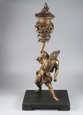 Antique Extra Large Carved and Plated Wood Samurai & Dragon Incense Burner