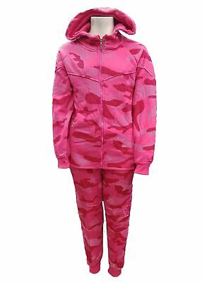 Kids girls black/pink Camo Tracksuit Hooded Top & Jog Bottoms Set 4-14 Years