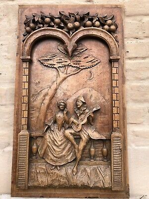 SALE SALE !!! Antique French Carved Romantic Scene in wood circa 1880