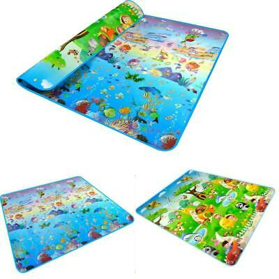 2x1.8 Meter Toddler Crawling Mat Double Sided Ocean Themed Printed Mat EA9