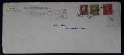RARE 1913 United States Registd Cover ties 3  stamps canc New Bedford
