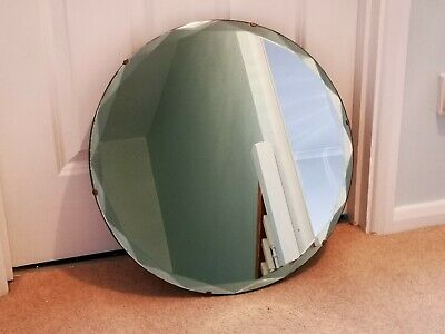 Art Deco style1930's/40's round wall mirror with bevelled edge and hardwood back