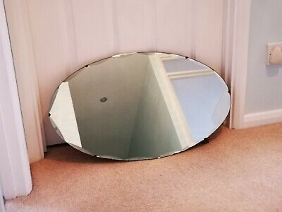Art Deco style1930's/40's oval bevelled edge wall mirror with hardwood back