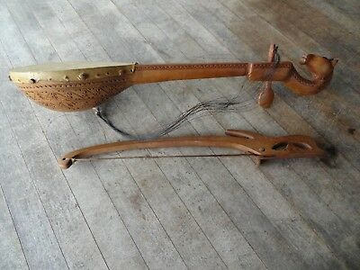 Vintage 1 String Yugoslavian Musical Instrument with Bow/Chip Carved, Horse Head
