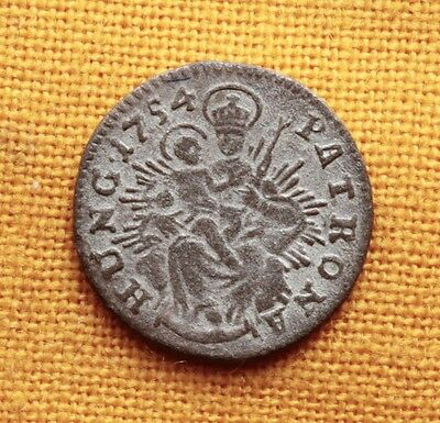 Late Medieval Hungarian Coin - Maria Thereisa Silver Denar 1754. Madonna!