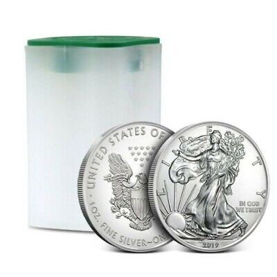 GENUINE 2019 Roll of 20 1 oz American Silver Eagles Tube $1 Coin