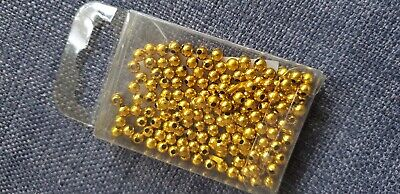 Packet of 100 x Gold Threading Round Beads for Arts and Crafts (Papercellar) New