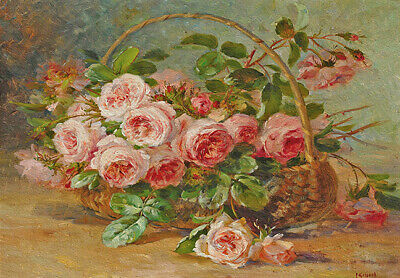 Basket of Roses Pink Flowers Vintage French Provincial Cottage Chic Canvas Print