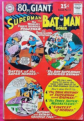 World's Finest 15 DC 80 Page Giant Silver Age 1965 Superman and Batman