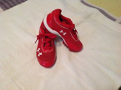428252e9b56 UNDER ARMOUR PAIR Of Kids Size 12K Red Baseball Cleats Hardly Used ...