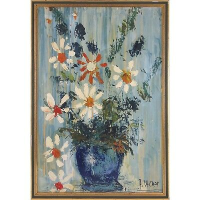 Alain Lacaze (Canadian,1939-) Impressionism Mid Century Floral — Oil on BOARD