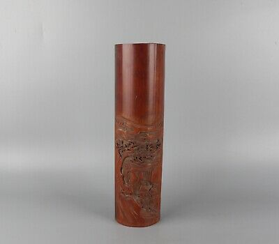 Chinese Exquisite Hand-carved landscape people Carving bamboo Paperweight