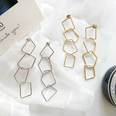 25b02af27 Fashion gold silver Metal Punk Geometry Chain Irregular Earrings Women  Jewelry