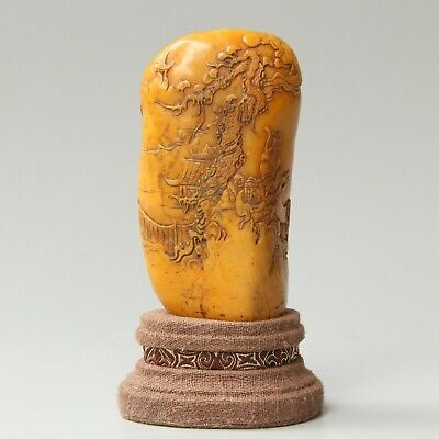 Chinese Hand-carved landscape people Carving Shoushan Stone seal With box