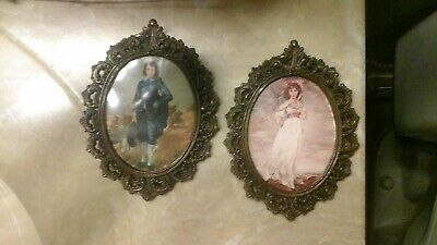 ( 2 ) Vintage  Brass Ornate Oval Picture Frames. Made in Italy.