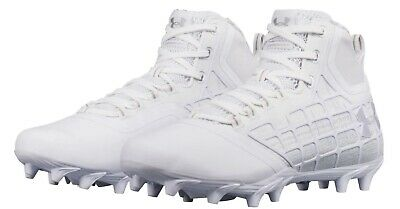 $100 NEW Under Armour Banshee Mid MC Lacrosse Cleats Size 13 White Gray