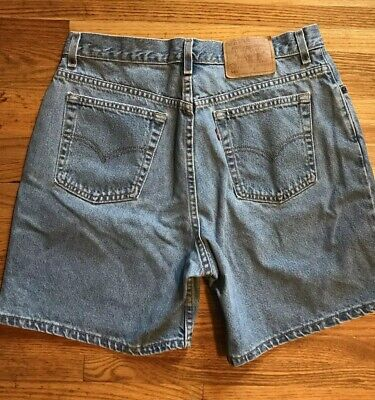 "Vintage Levis 550 Denim Jean Shorts Womens Sz 16 High Waist Mom 6.5"" Medium USA"