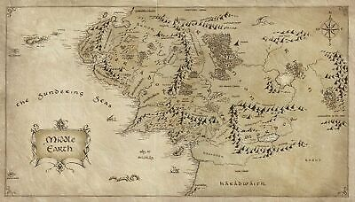 Map of Middle Earth Lord Of The Rings Art Silk Poster 12x18 24x36