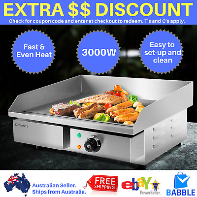 Electric Griddle Grill Hot Plate Commercial 3000W Stainless Steel Countertop BBQ