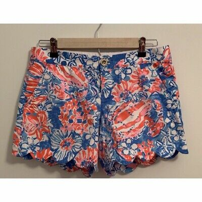 fc73b910ba2d92 Lilly Pulitzer BUTTERCUP Shorts •Womens 2• Bay Blue Pop Pop Red White  Scalloped